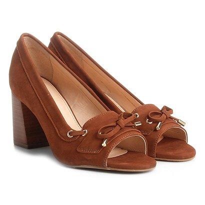 Peep Toe Couro Shoestock Salto Grosso Mocassim