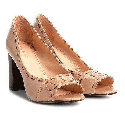 Peep Toe Couro Shoestock Salto Grosso Pespontos