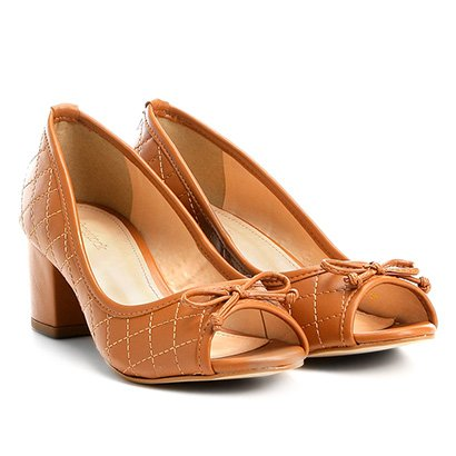 Peep Toe Shoestock Salto Grosso Matelassê