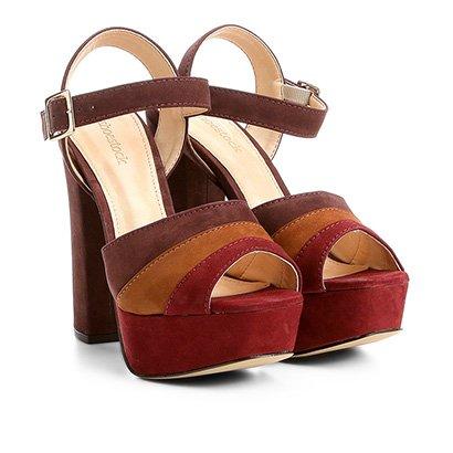 Sandália Couro Shoestock Meia Pata Mix Color Feminina