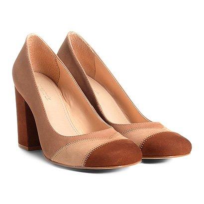 Scarpin Couro Shoestock Salto Alto Patchwork