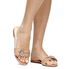 2e4d77c368 Rasteira Couro Shoestock Fivela Pedras
