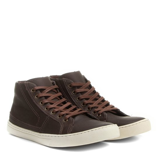 312064fded Sapatênis Couro Shoestock Cano Alto Recortes Masculino - Café ...