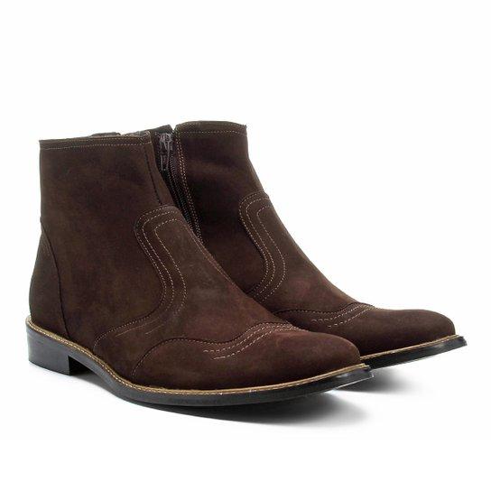 389b7c42560 Bota Couro Cano Curto Shoestock Recortes Masculina - Café - Compre ...