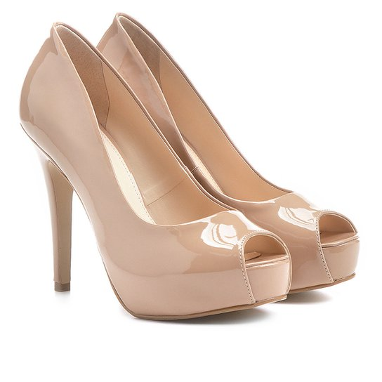 e24f1303f9 Peep Toe Shoestock Meia Pata Verniz - Nude - Compre Agora