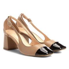 359849a39 Scarpin Couro Shoestock Salto Bloco Biqueira