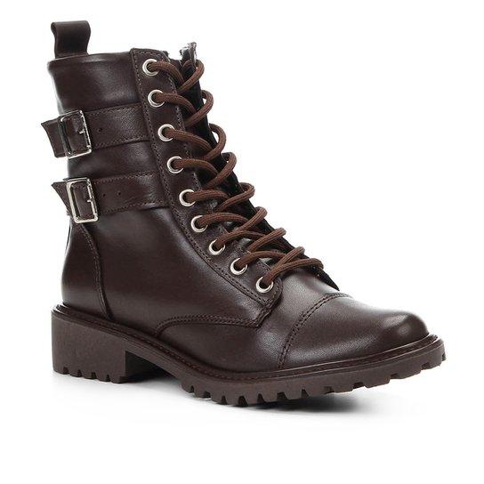 9e7461403 Bota Coturno Shoestock Couro Fivelas Feminina - Café | Shoestock