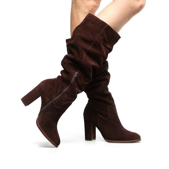 20d33c92ca Bota Couro Slouch Shoestock Salto Grosso Feminina - Café - Compre ...