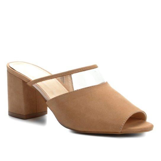 0b2f0428c5 Tamanco Couro Shoestock Salto Bloco Vinil Feminino - Nude