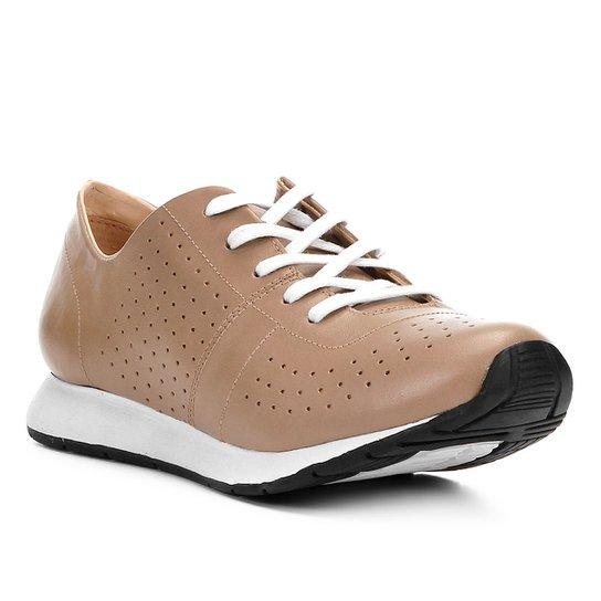 cb9a5deef1 Tênis Couro Shoestock Jogging Feminino - Marrom Claro - Compre Agora ...