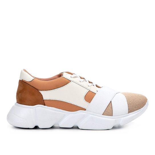 d05ed23279 Tênis Couro Shoestock Chunky Sneaker Neoprene Feminino - Bege+Marrom