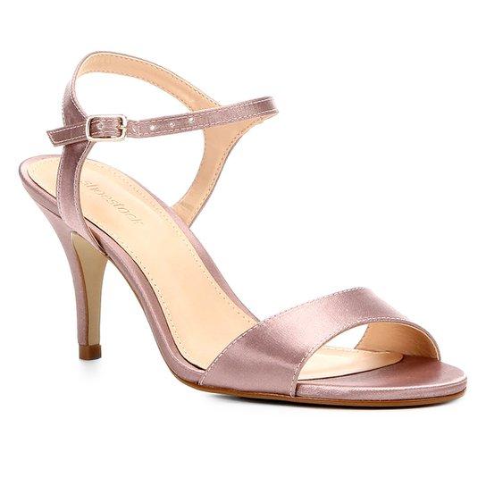 078f7bfa08 Sandália Shoestock Salto Fino Cetim Feminina - Rosa Claro - Compre ...