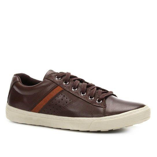 fa2edd6e99 Sapatênis Couro Shoestock Recorte Lateral Masculino - Café - Compre ...