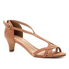 c59c7759a Sandália Couro Shoestock Salto Baixo Nobuck Feminina