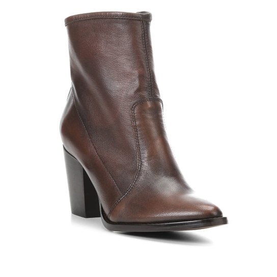 e5a9a712f Bota Couro Cano Curto Shoestock Bico Fino Feminina - Café - Compre ...