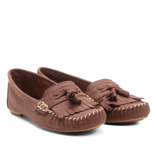 411e9876ae Mocassim Couro Shoestock Franja Barbicachos Feminino - Bege