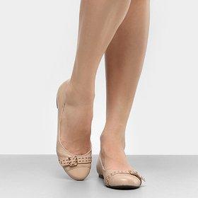 1122ae08e4 Peep Toe Couro Shoestock Salto Grosso Metal - Compre Agora