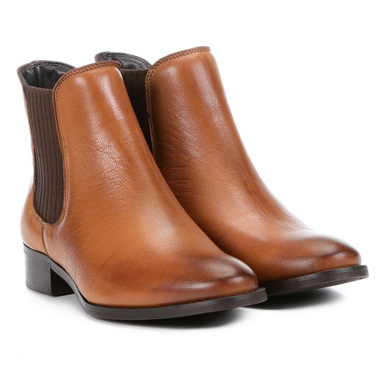 80cccc24eb Bota Chelsea Shoestock Flat Couro Feminina - Marrom Claro