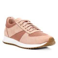 afb6cb6f76a Tênis Couro Shoestock Jogging Recortes Feminino