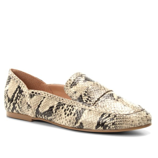93d8cee8c3 Mocassim Couro Shoestock Loafer Snake Feminino - Bege