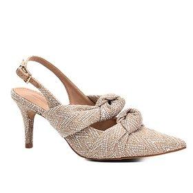 119a33c946 Scarpin Couro Shoestock Salto Médio Elástico - Cinza