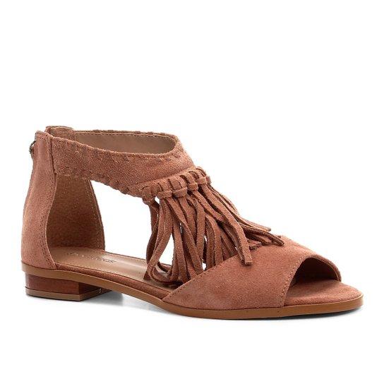e77d61fede Rasteira Couro Shoestock Franjas - Bege   Shoestock
