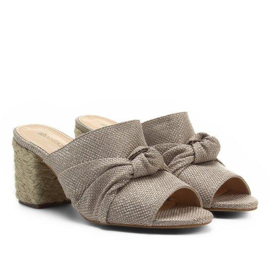 b4736a06a3 Tamanco Shoestock Salto Grosso Nó Feminino - Off White