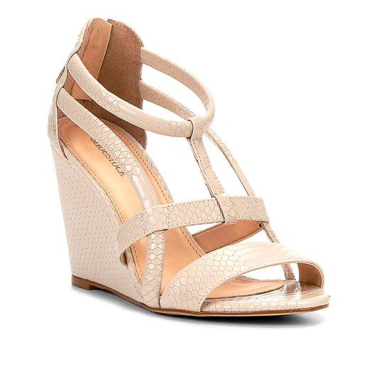 bc1894364 Sandália Anabela Shoestock Cobra Tiras Feminina - Nude - Compre ...