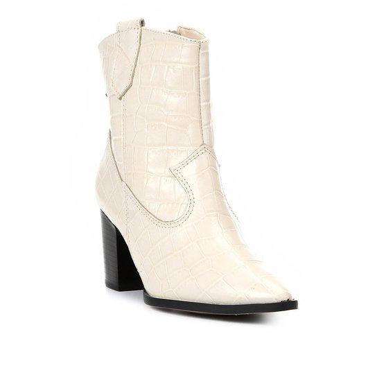 392964af8 Bota Cano Curto Shoestock Western Couro Feminina - Off White | Shoestock