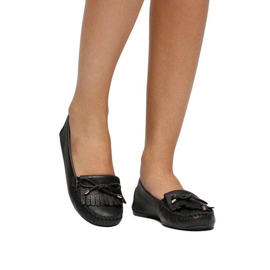8b29431b10 Mocassim Couro Shoestock Franjas Feminino - Preto