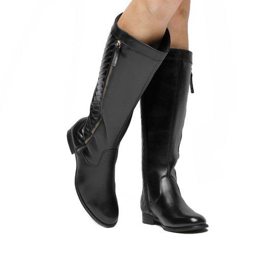 6d8bc6053 Bota Montaria Couro Shoestock Matelassê Feminina - Preto - Compre ...