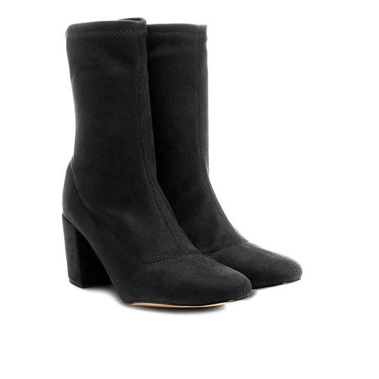 ee0c29830 Bota Meia Cano Médio Shoestock Stretch Salto Grosso Feminina - Preto ...