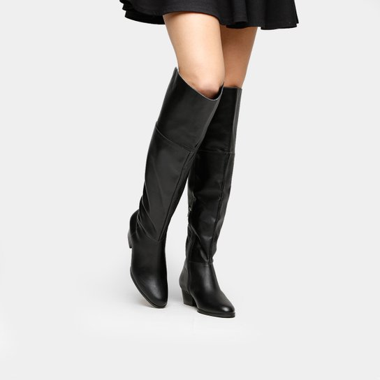 881614c4d Bota Couro Over the Knee Shoestock Zíper Feminina - Preto | Shoestock