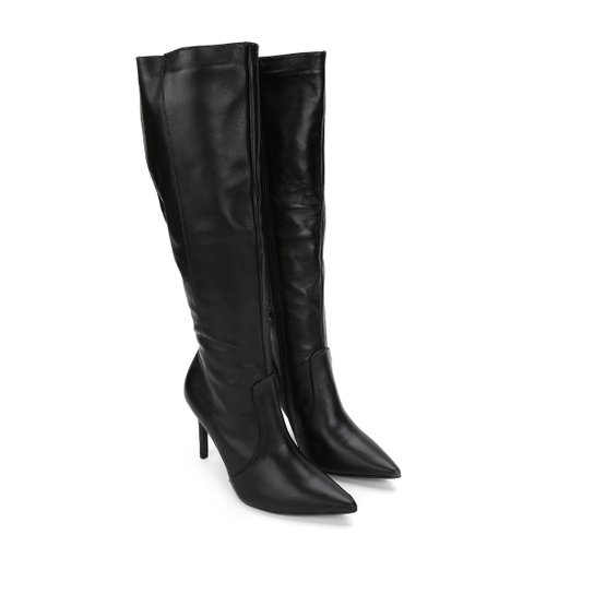 bb70ec8c5 Bota Couro Montaria Shoestock Bico Fino Feminina - Preto - Compre ...