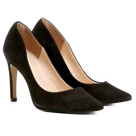 889f66143d Scarpin Couro Shoestock Salto Alto Bico Fino Nobuck - Preto