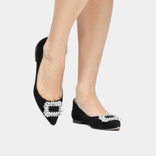 10d82f4b7c Sapatilha Couro Shoestock Bico Fino Fivela Pedrarias Feminina - Preto