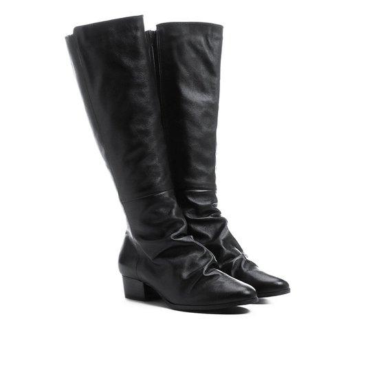 951ec1f6dbc Bota Couro Shoestock Longa Enrugadinha Feminina - Preto - Compre ...