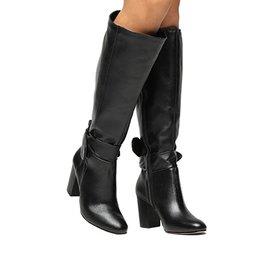 e5a49c892 Bota Couro Over the Knee Shoestock Salto Grosso Feminina - Preto ...