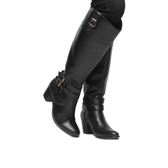 ad17ba07b Bota Couro Montaria Shoestock Fivelas Feminina - Preto - Compre ...