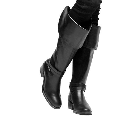 1e7673772 Bota Couro Over The Knee Shoestock Fivelas Feminina - Preto - Compre ...