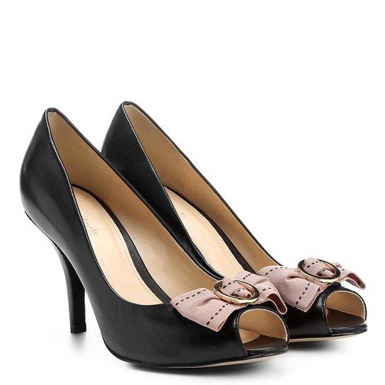 7b60def7a Peep Toe Couro Shoestock Salto Fino Gorgurão - Preto