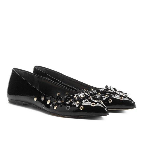 32a6be94c6 Sapatilha Shoestock Bico Fino Flores Feminina - Preto
