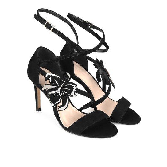 1e824a9fec Sandália Couro Shoestock Salto Alto Hibisco Feminina - Preto ...