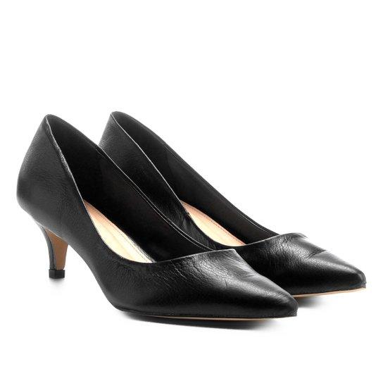 c415d2db1c Scarpin Couro Shoestock Salto Baixo - Preto