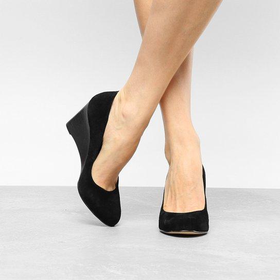 6ded27e5b7 Scarpin Couro Shoestock Anabela Bico Redondo - Preto