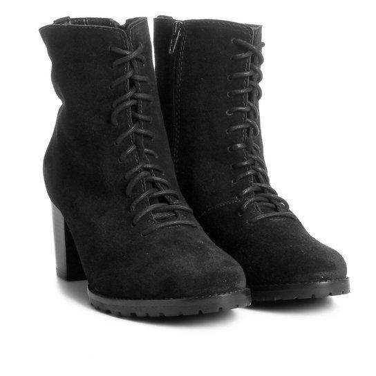 b53147b6c Bota Couro Coturno Shoestock Tratorada Feminina - Preto | Shoestock
