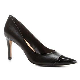 1bf275ae82 Scarpin Couro Shoestock Salto Alto Bicolor - Bordô
