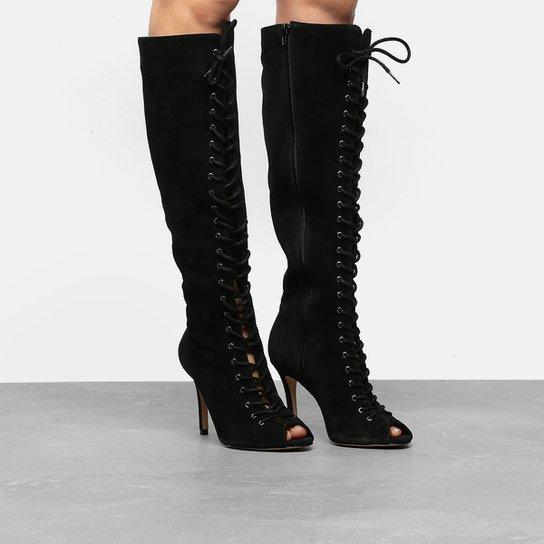 42bd23478 Bota Couro Cano Longo Shoestock Aberta Lace Up Feminina - Preto ...