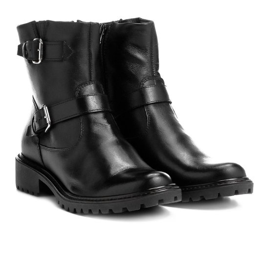 1d1083223 Bota Biker Shoestock Couro Tratorada Feminina - Preto | Shoestock