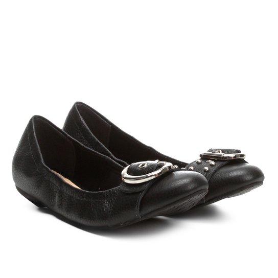 bfc701d1fd Sapatilha Couro Shoestock Fivela Tachas Feminina - Preto